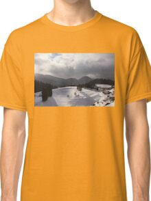 Snowstorm in the Sun - Dancing Snowflakes, Moody Clouds, Long Shadows Classic T-Shirt