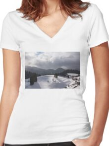 Snowstorm in the Sun - Dancing Snowflakes, Moody Clouds, Long Shadows Women's Fitted V-Neck T-Shirt