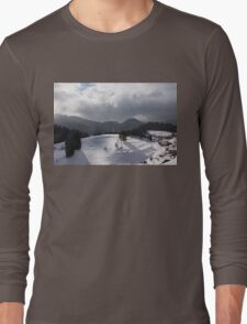 Snowstorm in the Sun - Dancing Snowflakes, Moody Clouds, Long Shadows Long Sleeve T-Shirt
