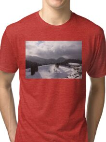 Snowstorm in the Sun - Dancing Snowflakes, Moody Clouds, Long Shadows Tri-blend T-Shirt