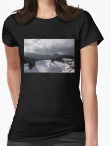 Snowstorm in the Sun - Dancing Snowflakes, Moody Clouds, Long Shadows Womens Fitted T-Shirt