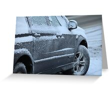 snowy car Greeting Card