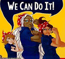 We Can Do It! - Dangan Ronpa - Propaganda Aoi, Sakura, & Chihiro by comerecupcake