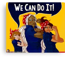 We Can Do It! - Dangan Ronpa - Propaganda Aoi, Sakura, & Chihiro Canvas Print