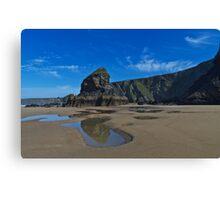 Smooth sandy beach with cliffs and blue sky Canvas Print