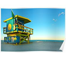 Clover Lifeguard House and Birds Poster