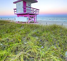 Pink and White Lifeguard House by lattapictures