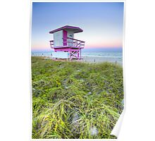 Pink and White Lifeguard House Poster