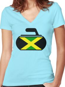 Jamaican Curling  Women's Fitted V-Neck T-Shirt