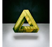 Penrose Triangle Green Photographic Print