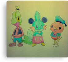 The hoenn starters as Mickey, Donald and Goofy!  Canvas Print