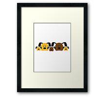 Funny Dog Family 3 Kids Framed Print