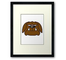 Funny Comic Bulldog Face Design Framed Print