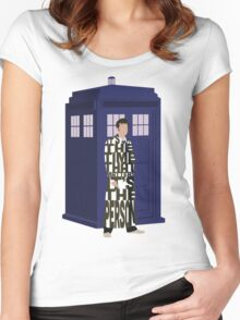 Doctor Who with TARDIS Women's Fitted Scoop T-Shirt