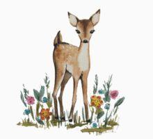 Deer in the flowers One Piece - Short Sleeve
