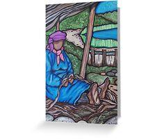 Algonquin Women Canoe Making Greeting Card