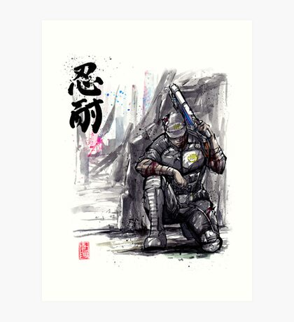 Admiral Anderson from Mass Effect with Japanese Calligraphy Art Print