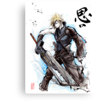 Cloud from Final Fantasy game with Japanese calligraphy Canvas Print