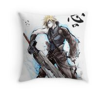 Cloud from Final Fantasy game with Japanese calligraphy Throw Pillow
