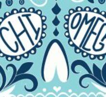 chi omega blue skull Sticker