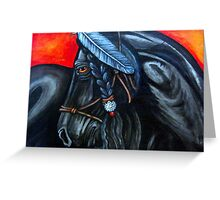 Black Horse With Feather Greeting Card