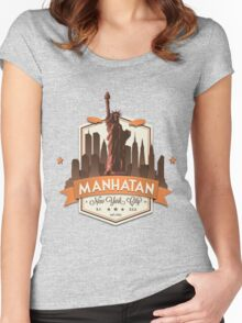Manhatan Retro-style Badge (Inspired by Fringe) Women's Fitted Scoop T-Shirt