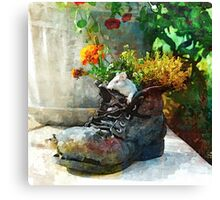 Boot With Flowers - Art Print Canvas Print