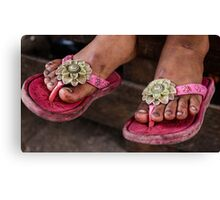 Pink sandals Canvas Print