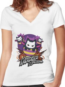 Mischievous Attack - Puzzle & Dragons Women's Fitted V-Neck T-Shirt