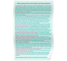 Best Friend Rights and Responsibilities Poster