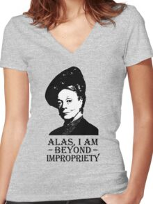 Alas, I am Beyond Impropriety Women's Fitted V-Neck T-Shirt