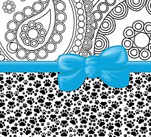 Dog Paws, Traces, Paisley -  Ribbon and Bow - White Black Blue by sitnica