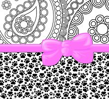 Dog Paws, Traces, Paisley - Ribbon and Bow - White Black Pink by sitnica