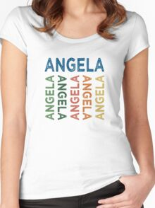 Angela Cute Colorful Women's Fitted Scoop T-Shirt
