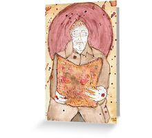 Icon of man reading newspaper in the underground Greeting Card