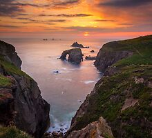 Cornwall - Arched Rock Sunset by Angie Latham