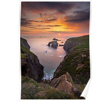 Cornwall - Arched Rock Sunset Poster