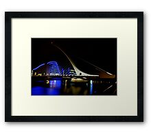 Samuel Beckett Bridge Dublin Ireland - Night Shot Framed Print