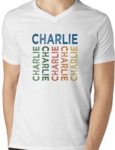 Charlie Cute Colorful Mens V-Neck T-Shirt