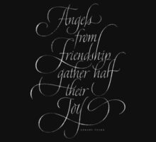 Angels from Friendship - Calligraphy Chalkboard Angel Quote - Christmas Chalk Lettering One Piece - Long Sleeve