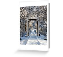 Snowy Train Trestle Greeting Card
