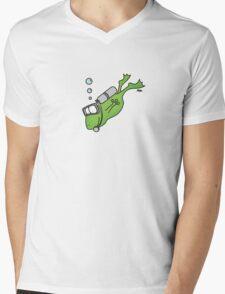 Diving Frog Mens V-Neck T-Shirt