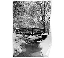 Snow Covered Foot Bridge Poster