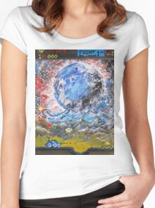 moon, retro, arcade, game Women's Fitted Scoop T-Shirt