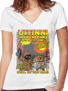 Droid repairs! Women's Fitted V-Neck T-Shirt