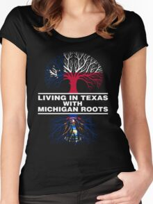 LIVING IN TEXAS WITH MICHIGAN ROOTS Women's Fitted Scoop T-Shirt
