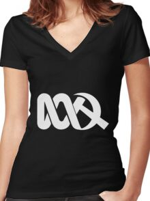 Red ABC in Reverse Women's Fitted V-Neck T-Shirt