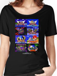 Sonic Mega Drive Title Screens (Europe Logo) Women's Relaxed Fit T-Shirt