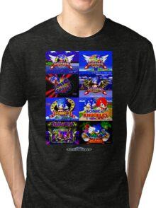 Sonic Mega Drive Title Screens (Europe Logo) Tri-blend T-Shirt
