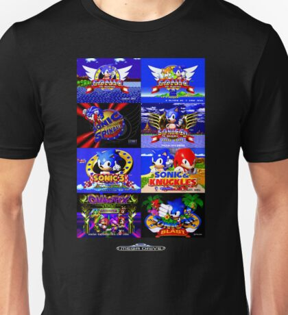Sonic Mega Drive Title Screens (Europe Logo) Unisex T-Shirt